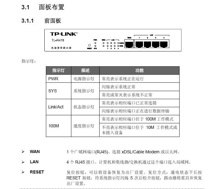 TP-Link宽带路由器TL-R478型使用说明书