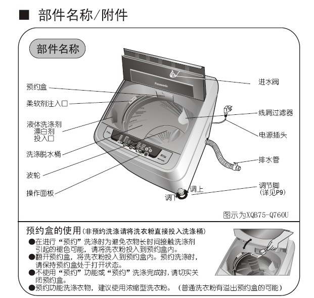 松下xqb75-q760u洗衣机使用说明书