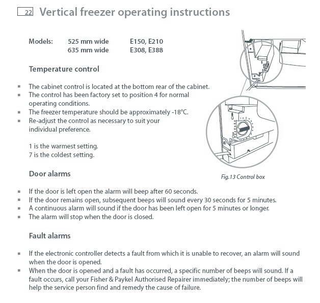 斐雪派克E308R冰箱说明书