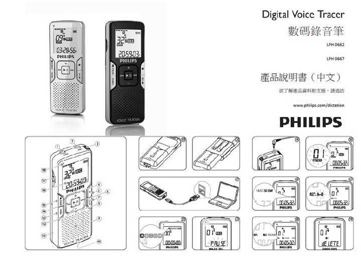 飞利浦LFH0662数码录音笔说明书