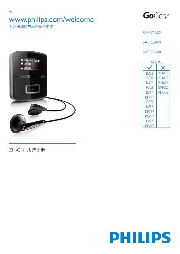 飞利浦SA3RGA204音乐播放器用户手册