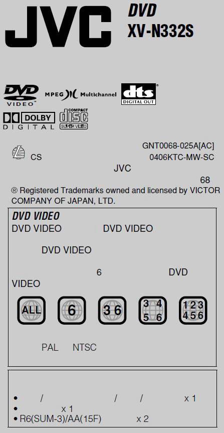 JVC影碟机XV-H332S使用说明书