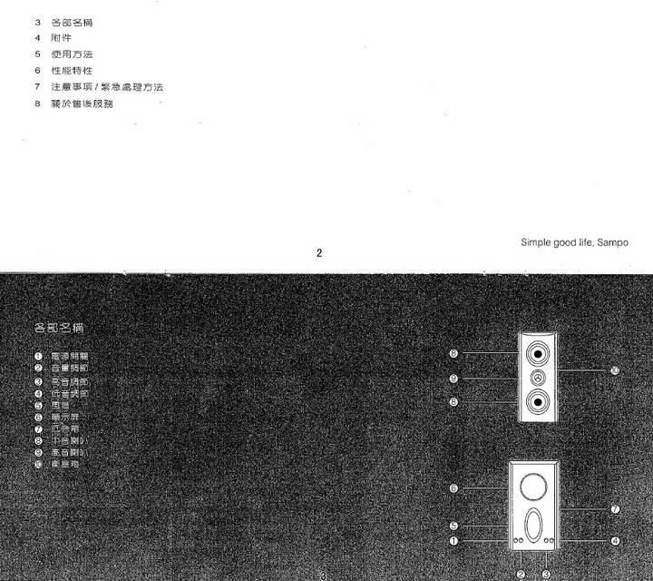 声宝JK-502L多媒体音响使用说明书