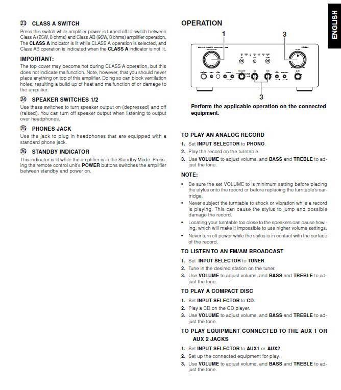 马兰士PM7200功放使用说明书