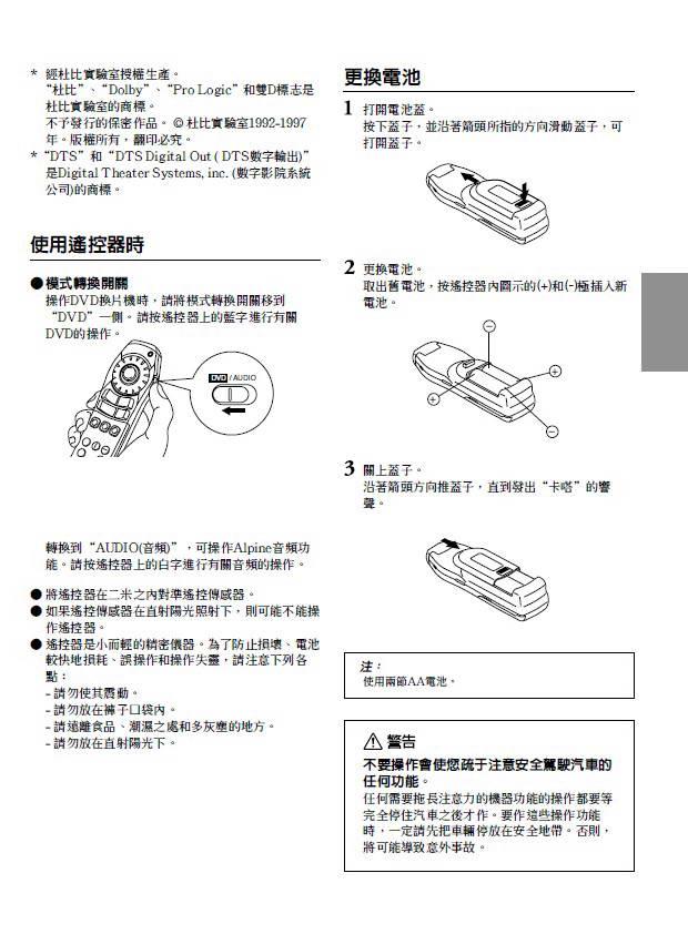 阿尔派dha-s680e型车载dvd播放机说明书