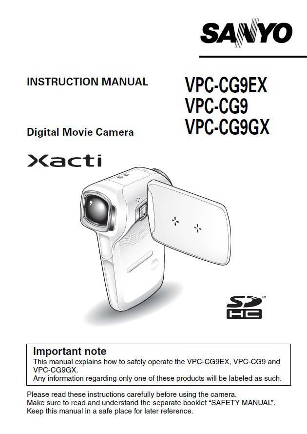 三洋VPC-CG9EX数码摄像机使用说明书