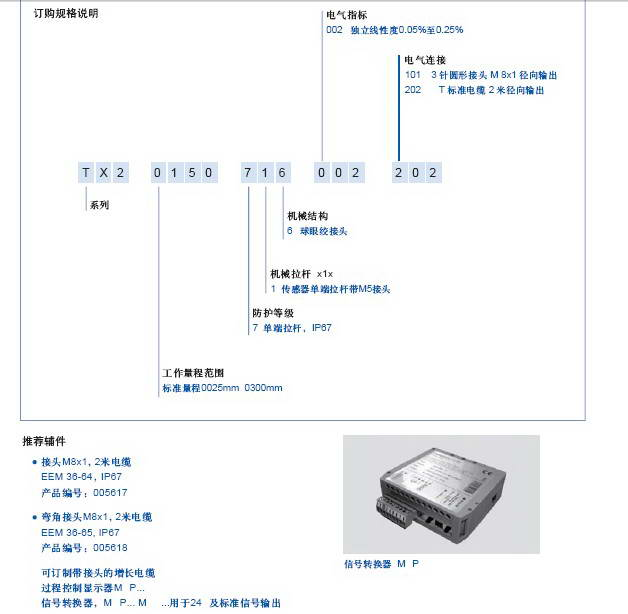 Novotechnik TX2 0100直线位移传感器说明书