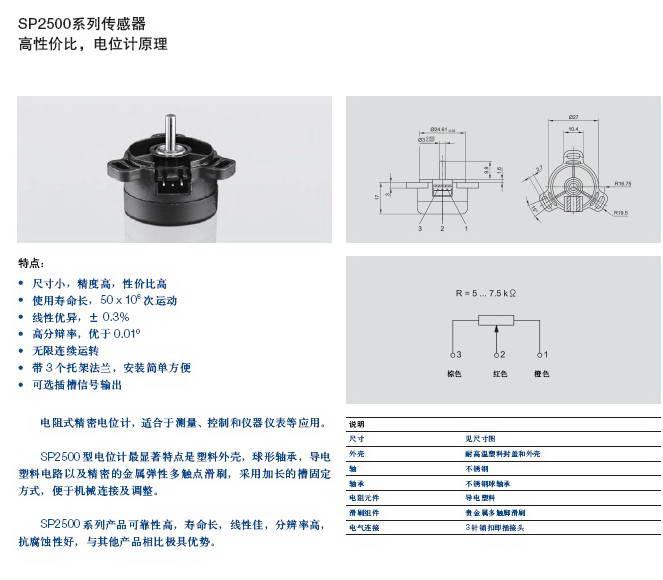 Novotechnik SSPK2501 A5033传感器说明书