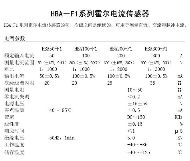 华智兴HBA300_F1霍尔电流传感器说明书
