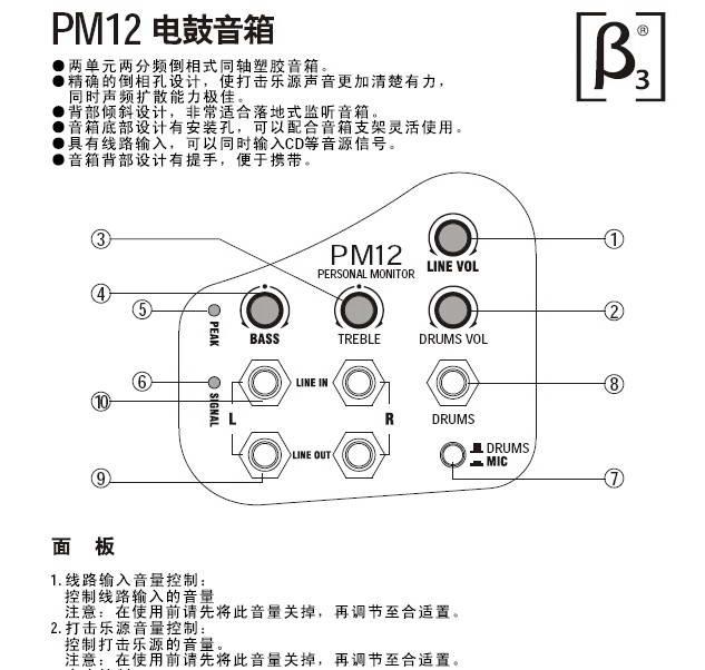 贝塔斯瑞PM12电鼓音箱说明书