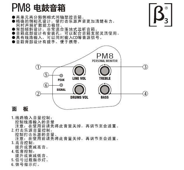 贝塔斯瑞PM8电鼓音箱说明书