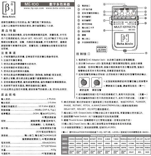 贝塔斯瑞ME-100数字多效果器说明书