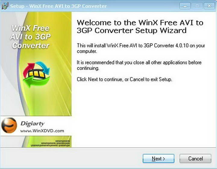 WinX Free AVI to 3GP Converter