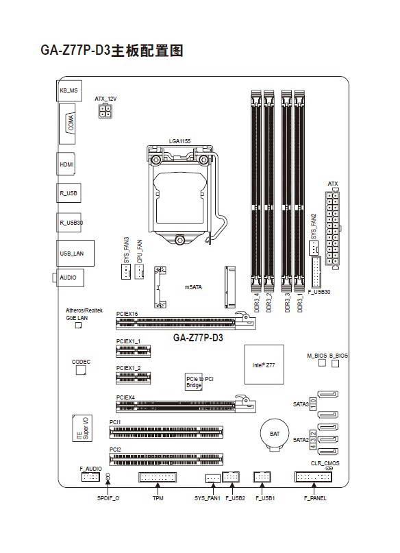 技嘉GA-Z77P-D3主板使用手册
