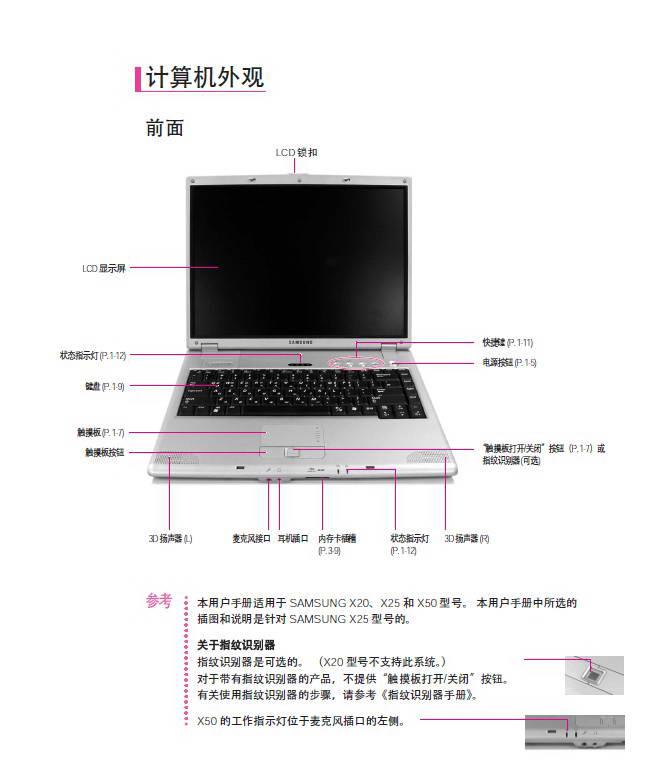 三星X20笔记本电脑使用说明书