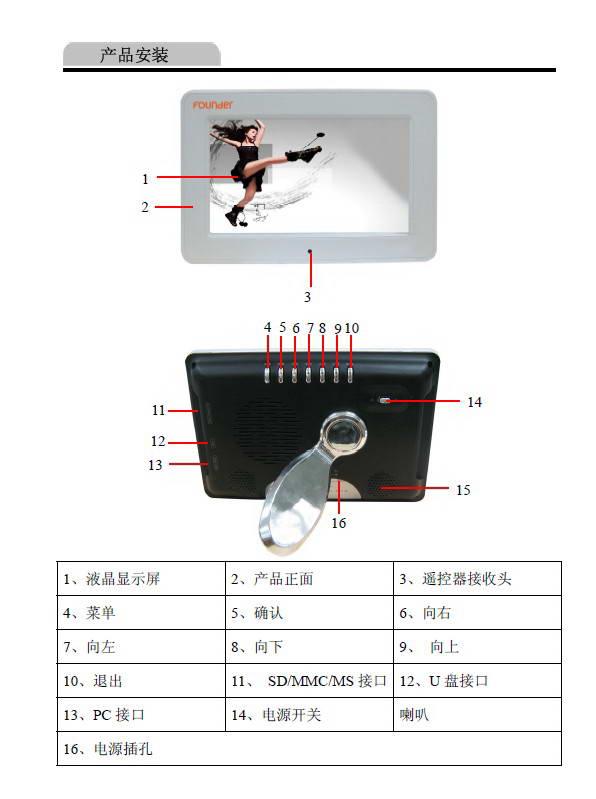 方正数码相框D702型使用说明书