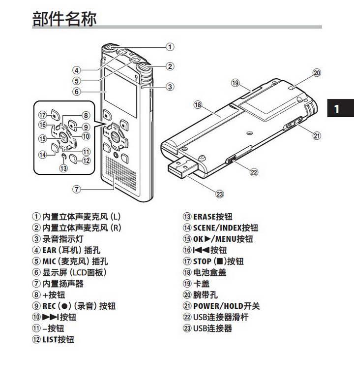 奥林巴斯录音笔WS-650S型使用说明书