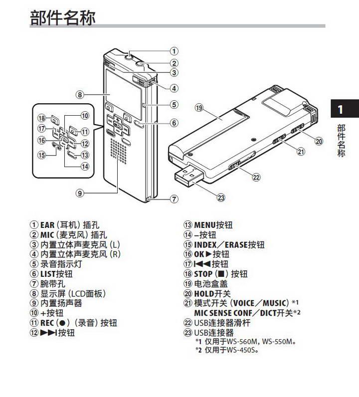 奥林巴斯录音笔WS-550M型使用说明书