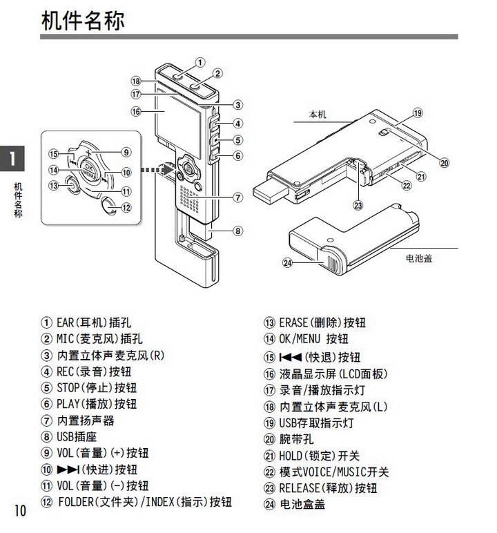 奥林巴斯录音笔WS-321M型使用说明书