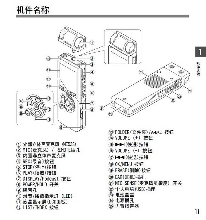 奥林巴斯录音笔DS-40型使用说明书