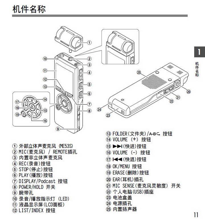 奥林巴斯录音笔DS-50型使用说明书