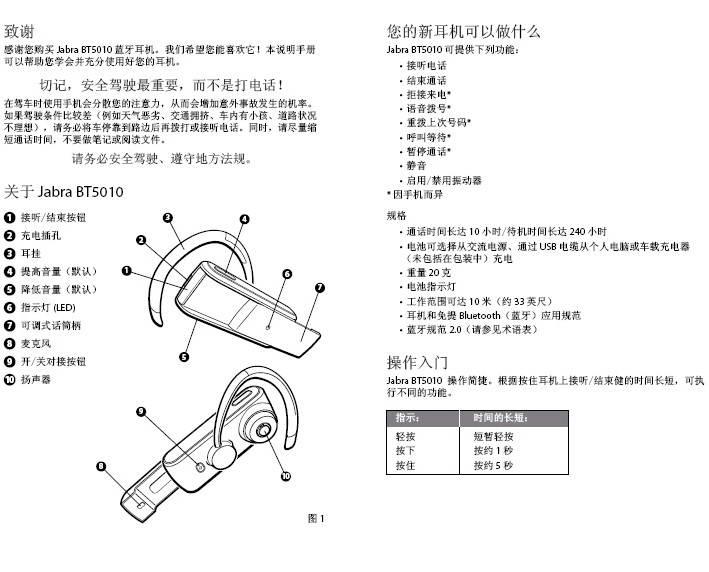 Jabra BT5010蓝牙耳机使用手冊