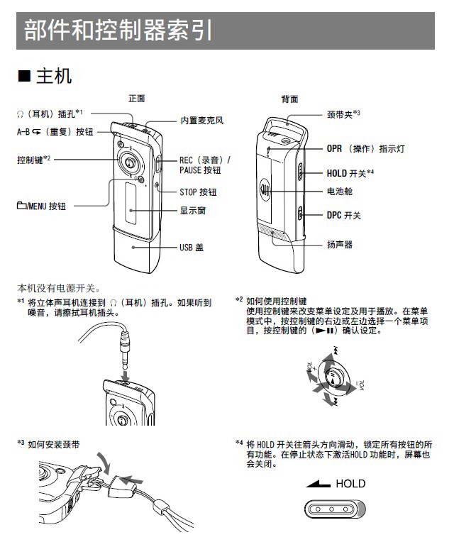 索尼ICD-U60型数码录音笔说明书