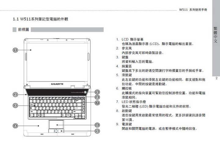 技嘉W511A笔记本电脑使用说明书