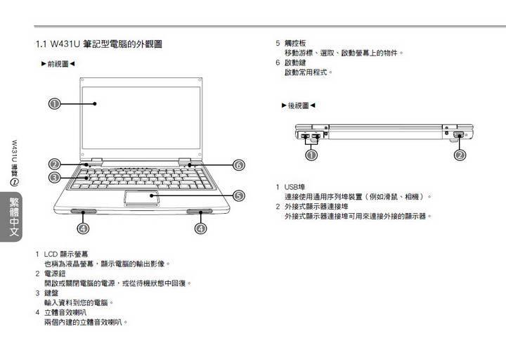 技嘉W431U笔记本电脑使用说明书