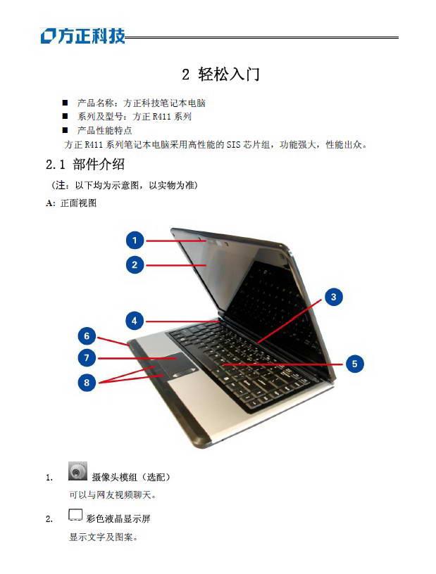 方正R411系列笔记本电脑说明书