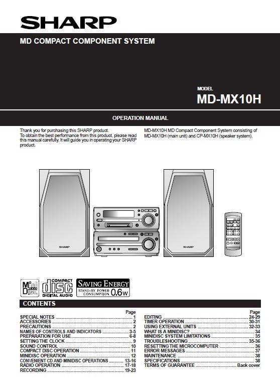 夏普MD-MX10H数码影音使用说明书