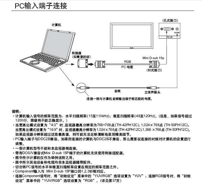 松下TH-42PH12C等离子监视器使用说明书