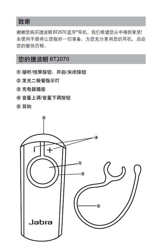 捷波朗BT2070蓝牙耳机使用说明书