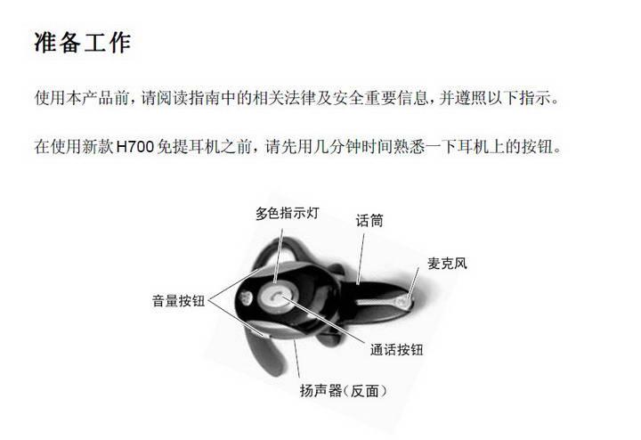 摩托罗拉H700蓝牙耳机使用说明书