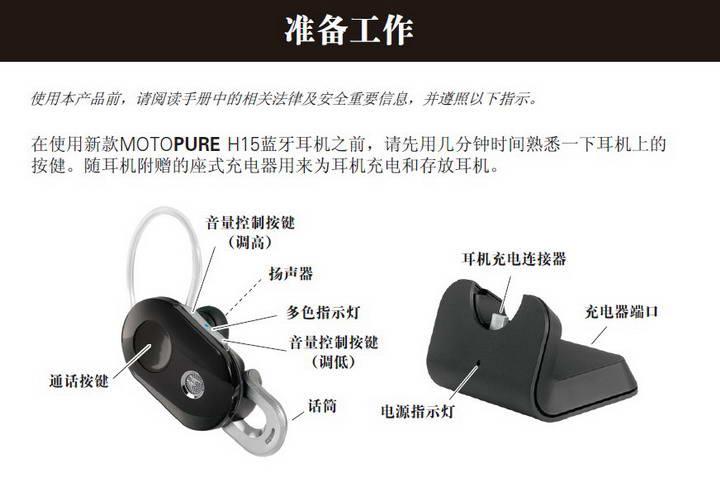 摩托罗拉H15蓝牙耳机使用说明书