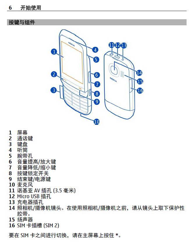 诺基亚Nokia C2-03手机说明书