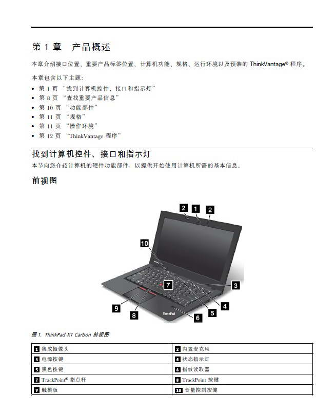 联想ThinkPad X1 Carbon笔记本电脑说明书