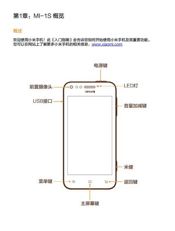 小米手机MI 1S说明书