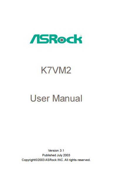 Asrock华擎K7VM2 R3.0主板英文版说明书