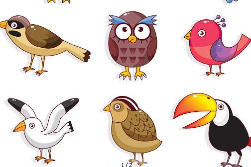 卡通鸟类形象矢量图图片