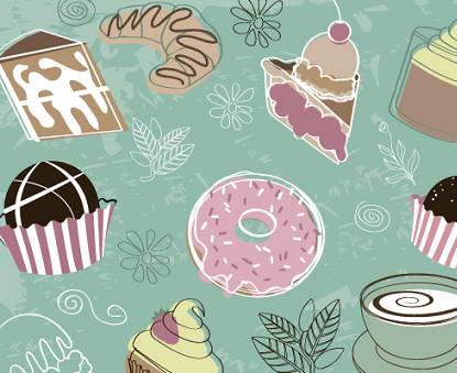 卡通甜点背景矢量素材图
