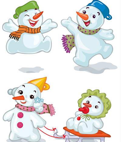 可爱卡通雪人矢量图_可爱卡通雪人矢量图模板