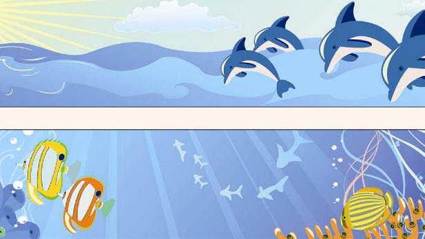 卡通海底世界矢量图_卡通海底世界矢量图模板