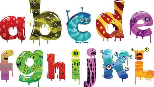 卡通英文字母矢量素材