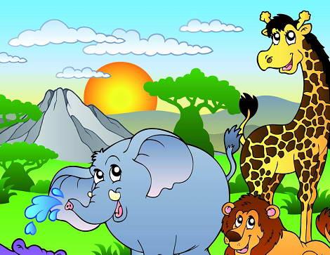 卡通丛林动物场景矢量图官方下载|卡通丛林动物场景