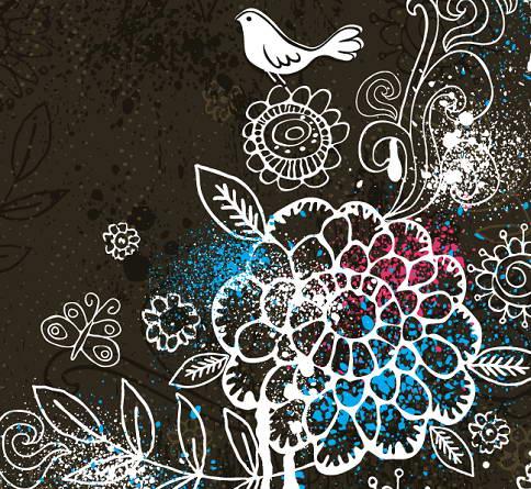 手绘花鸟花纹背景图