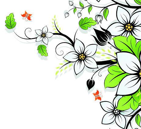 春季栀子花矢量素材_春季栀子花矢量素材模板