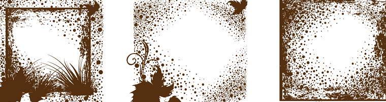 褐色花纹边框矢量素材