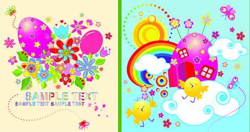色彩缤纷儿童画矢量素材