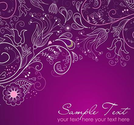 紫色浪漫花纹背景矢量图